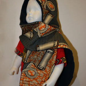 Echarpe Capuche 2 en 1 wax orange et polaire
