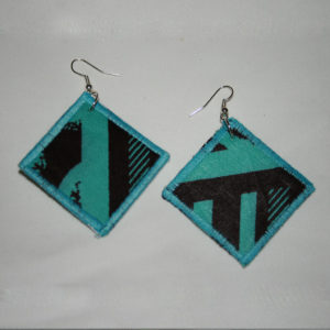 Boucles d'oreilles tissu wax turquoise