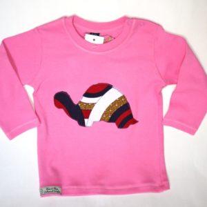 T-shirt 12/18 mois tortue wax rose et blanc