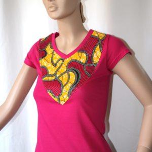 T-shirt rose wax rose/jaune taille M
