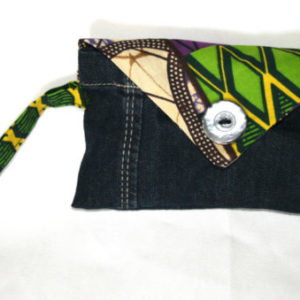Pochette upcycling wax & jeans n°1
